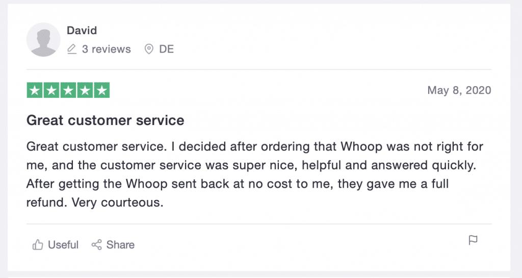 Whoop review from Trustpilot 2