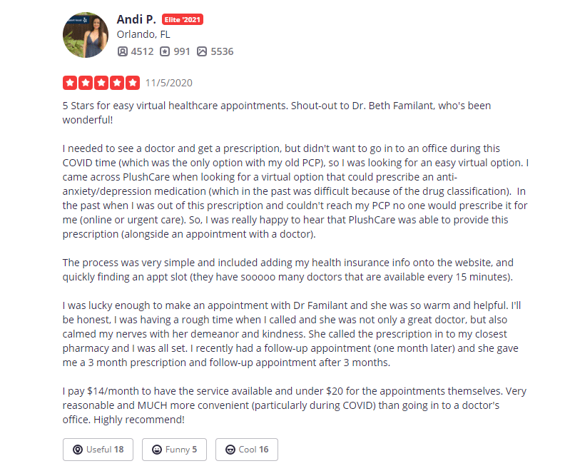 Plushcare Yelp Review