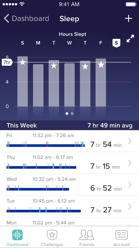 Fitbit sleep tracking app screenshot
