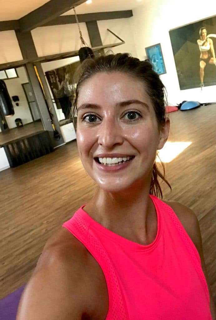 Sweating and smiling after my Obe workout