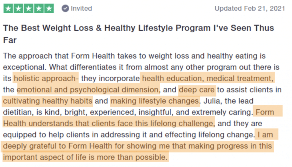 Form Health Trustpilot review. 1